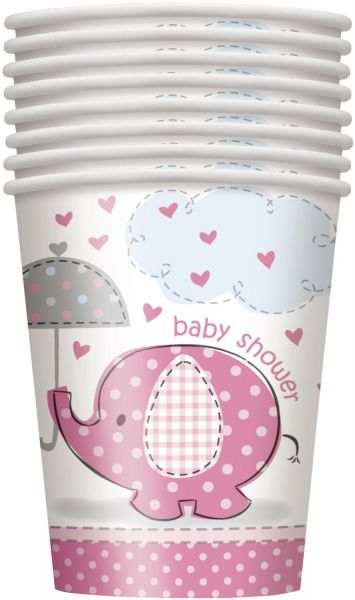 Umbrellaphants Pink 8 Pappbecher 266 ml