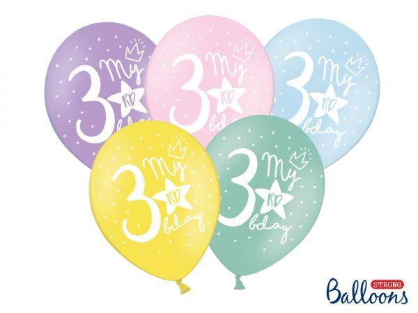 Ballon Happy Birthday 3 rd Pastel Mix 30 cm/6