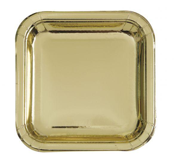 Gold Foil 8 Quadr. Pappteller 23 cm