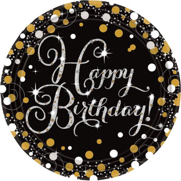 Sparkl. Celebration Gold Happy Birthday - 8 Teller 23 cm