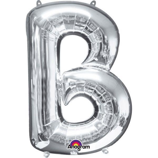 Buchstabe Silber - B Folienballon 58 X 86 cm