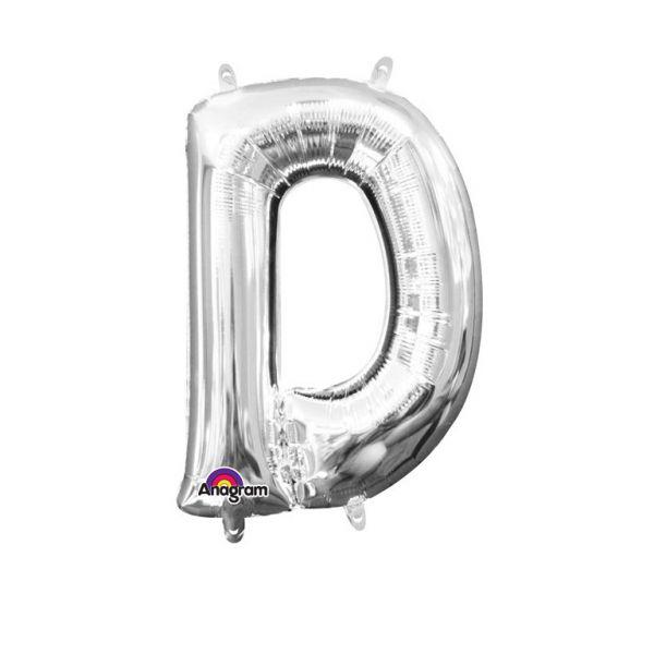 Mini Buchstabe Silber - D Folienballon 22 X 33 cm