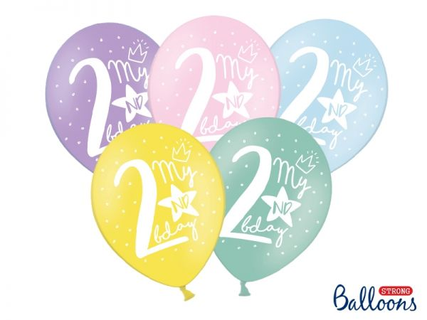 Ballon Happy Birthday 2 nd Pastel Mix 30 cm/6