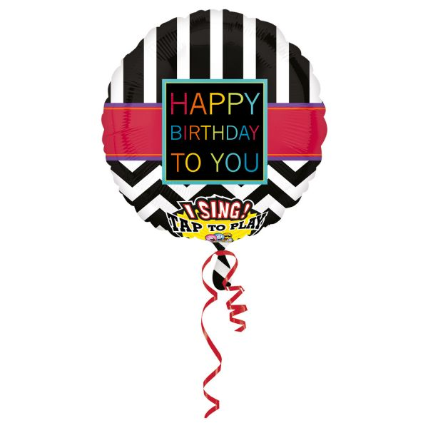 Sing A Tune Happy B-Day Chevron Ballon 71 X 71 cm