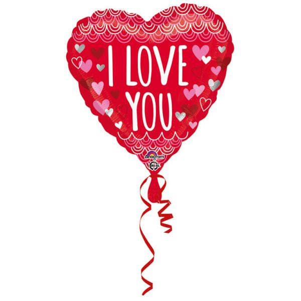 I Love You Herz Rot Folienballon 43 cm