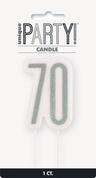 Birthday Glitz Silber Geburtstagskerze 70