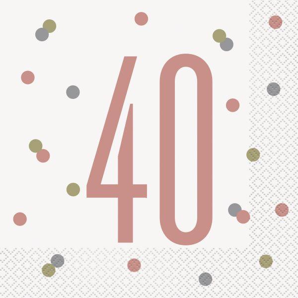 Birthday Glitz Rosegold Servietten 40