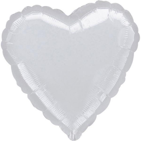 Herz Metallic Silver Folienballon 43 cm