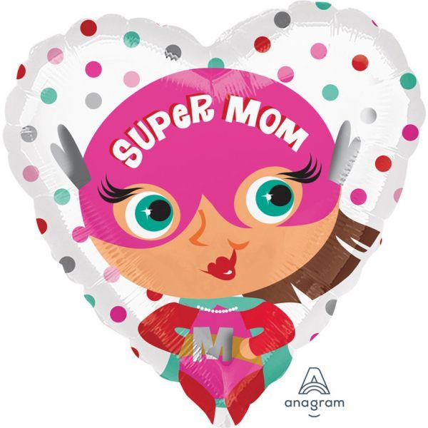 Super Mom Herz Folienballon 43cm