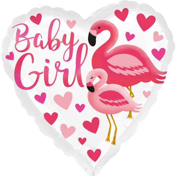 Flamingo Baby Girl Herz Folienballon