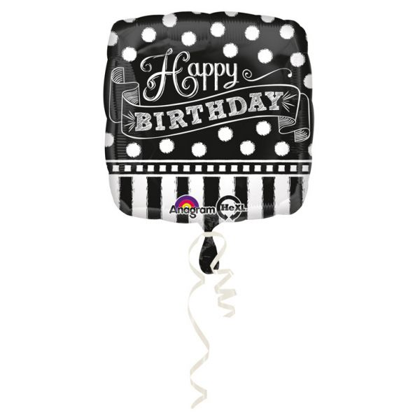 Happy Birthday Black & White Folienballon 43 cm