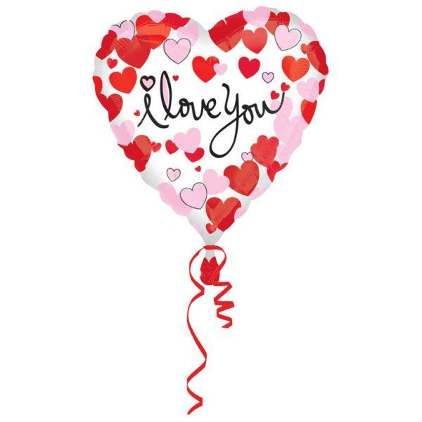 I Love You Herz Rot-Pink Folienballon 43 cm