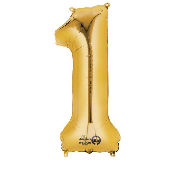 Zahl Gold - 1 Folienballon 33 X 86 cm
