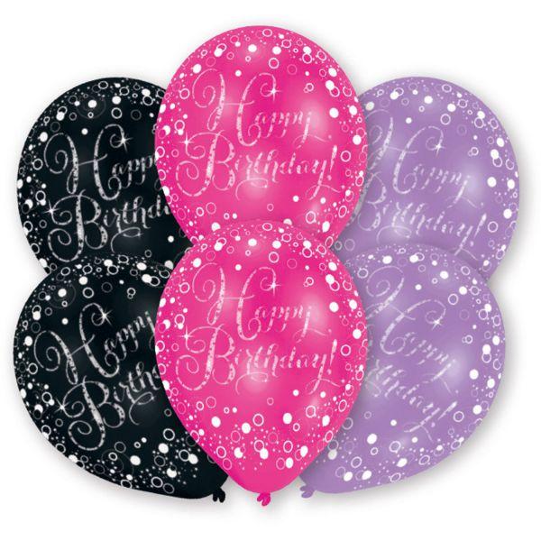 Happy Birthday Schwarz Lila Pink Latexballons/6