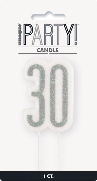 Birthday Glitz Silber Geburtstagskerze 30