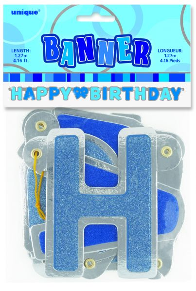 Happy B-Day Banner Blue