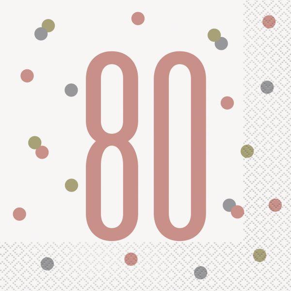 Birthday Glitz Rosegold Servietten 80