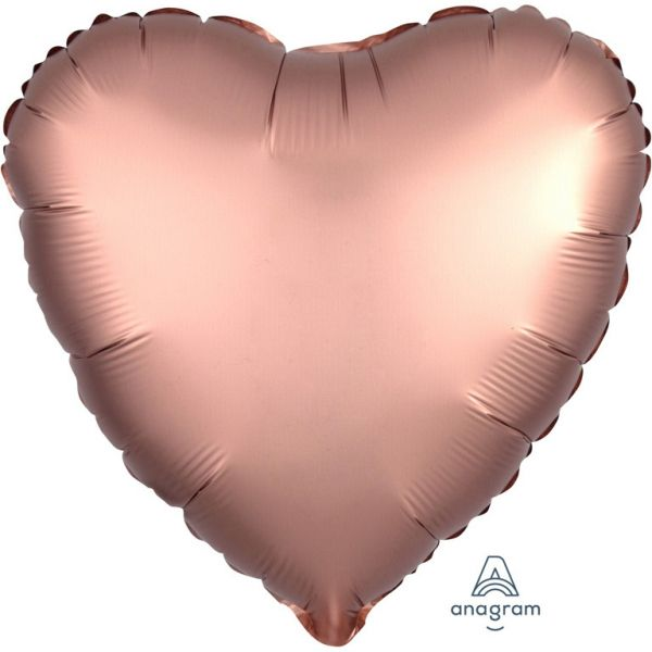 Herz Rose Copper Satin Folienballon 43 cm
