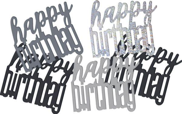 Birthday Glitz Schwarz Konfetti Happy Birthday