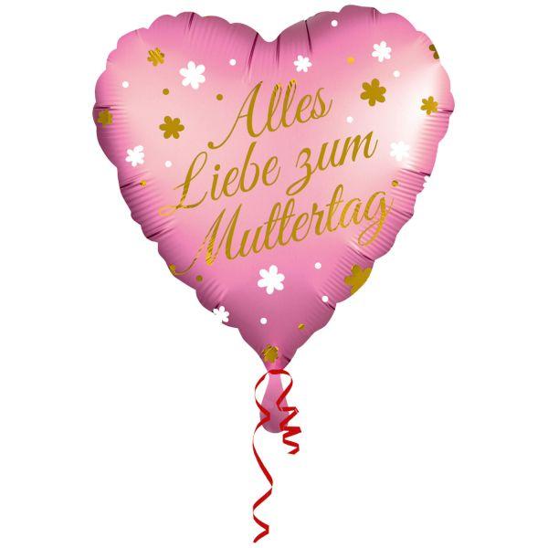 Zum Muttertag Herz Folienballon 43cm