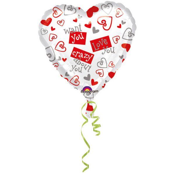 Herz Simply Said Folienballon 43 cm