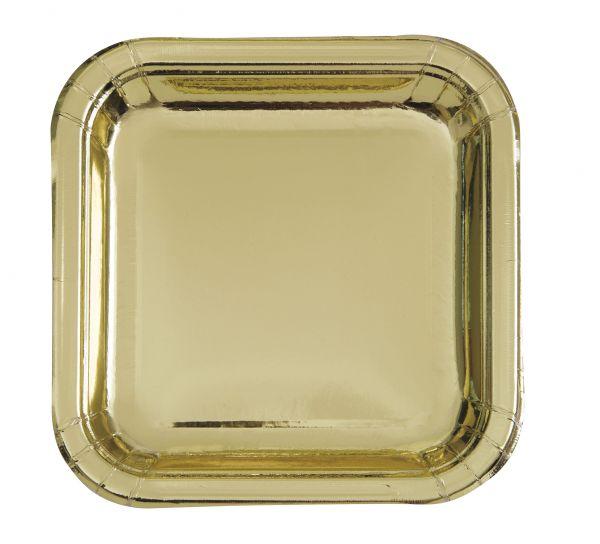 Gold Foil 8 Quadr. Pappteller 18 cm