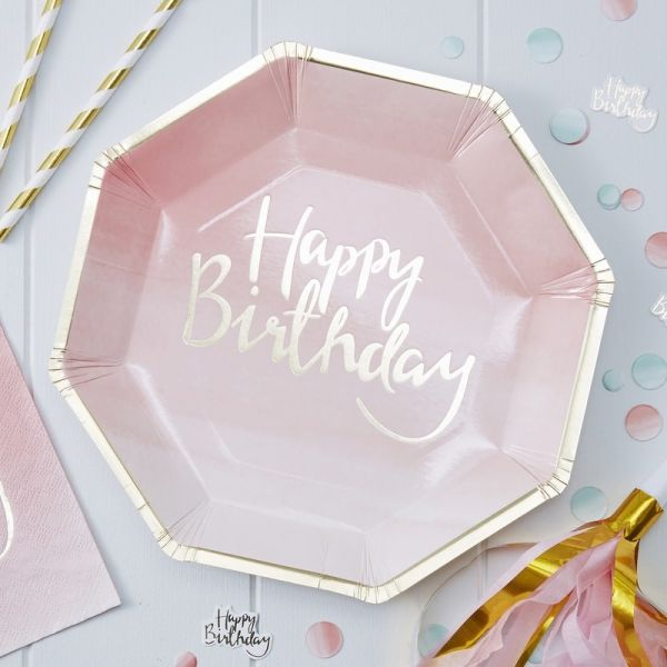 Gold/Pink H Bday Papptell Pick And Mix