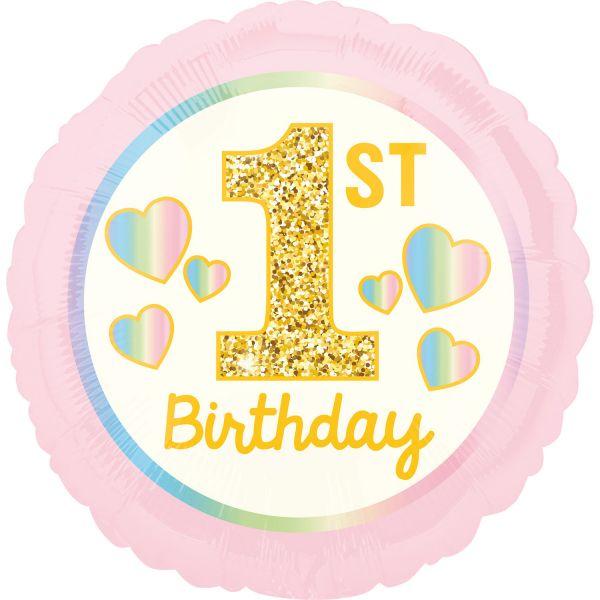 Pink 1st Birthday Pink & Gold Folienballon