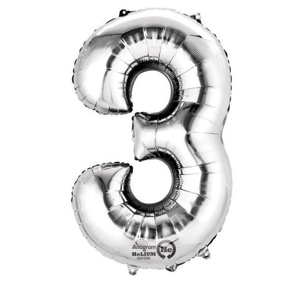 Zahl Silber - 3 Folienballon 53 X 88 cm