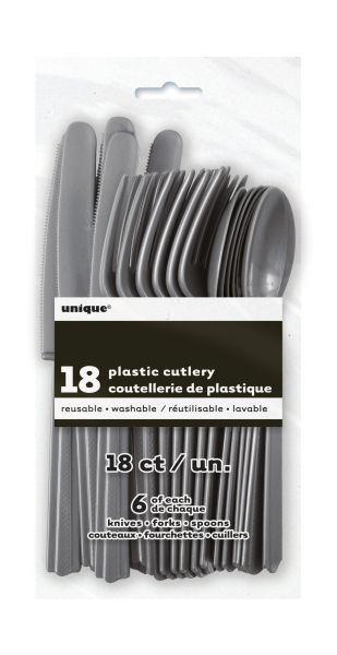 Plastikbesteck 18-teilig Silver