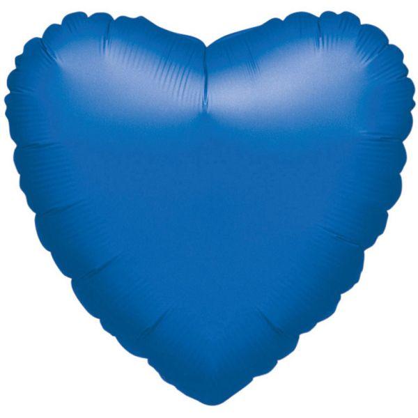 Herz Blau Metallic Folienballon 43 cm