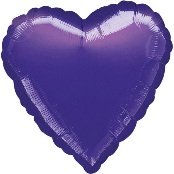 Herz Violettt Metallic Folienballon 43 cm