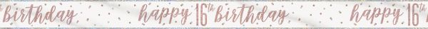 Birthday Glitz Rosegold Banner 16