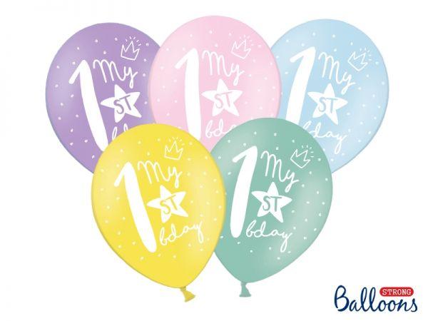 Ballon Happy Birthday 1 st Pastel Mix 30 cm/6