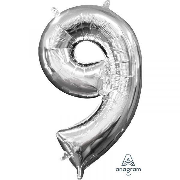 Mini Zahl Silber - 9 Folienballon 20 X 35 cm