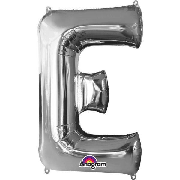 Buchstabe Silber - E Folienballon 53 X 81 cm