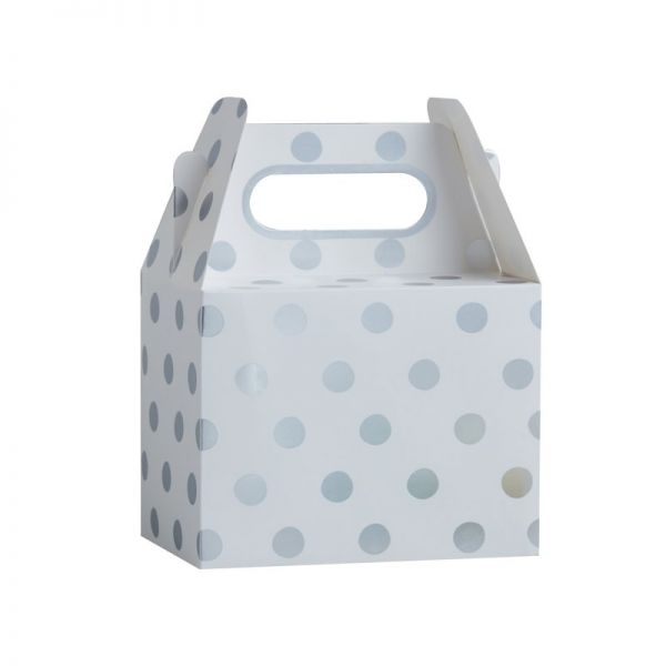Silver Foiled Polka Dot Party Boxes- Pick And Mix