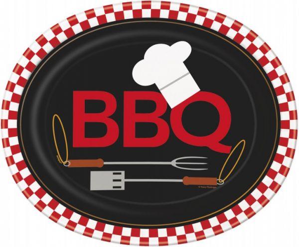 BBQ Pappteller Oval/8