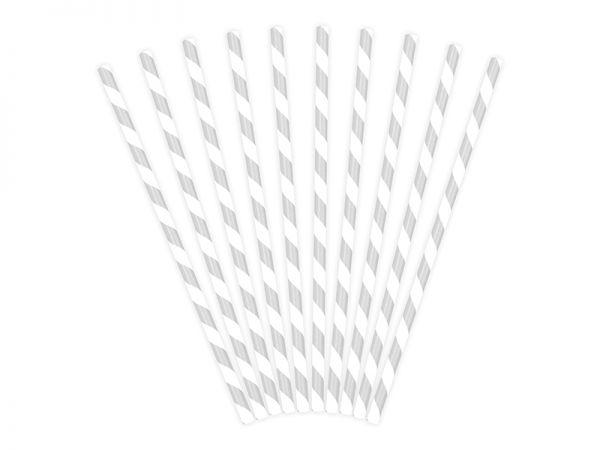 Papierstrohhalm Silber gestreift 10 Stk.