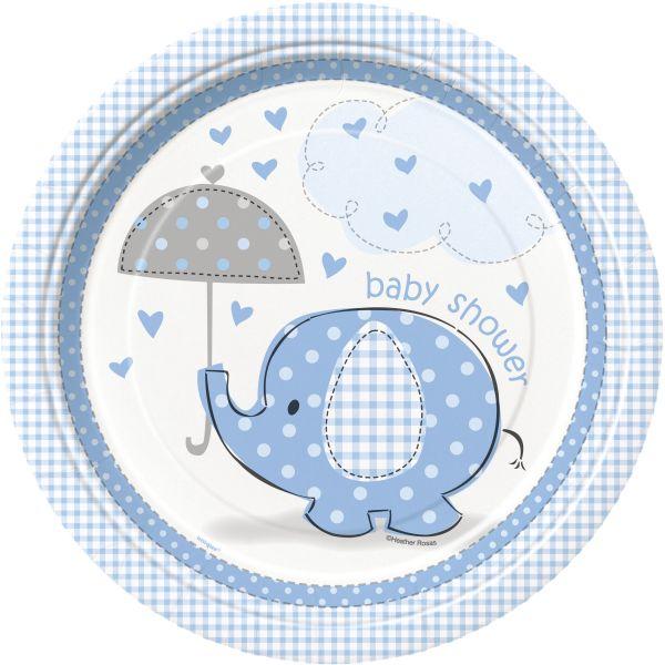 Umbrellaphants Blue 8 Pappteller 23 cm