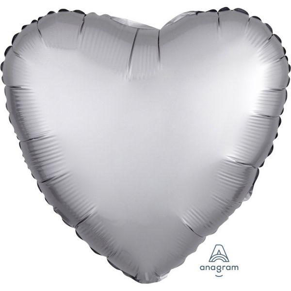 Herz Luxe Platinum Satin Folienballon 43 cm