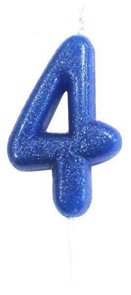 Kerze Glitter Blau 4