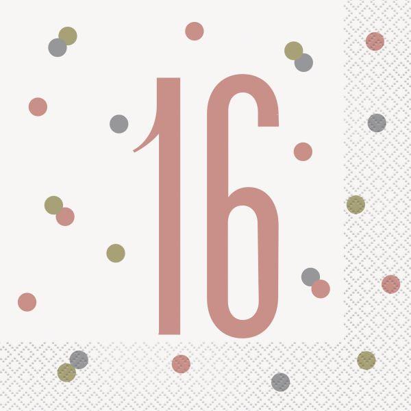 Birthday Glitz Rosegold Servietten 16
