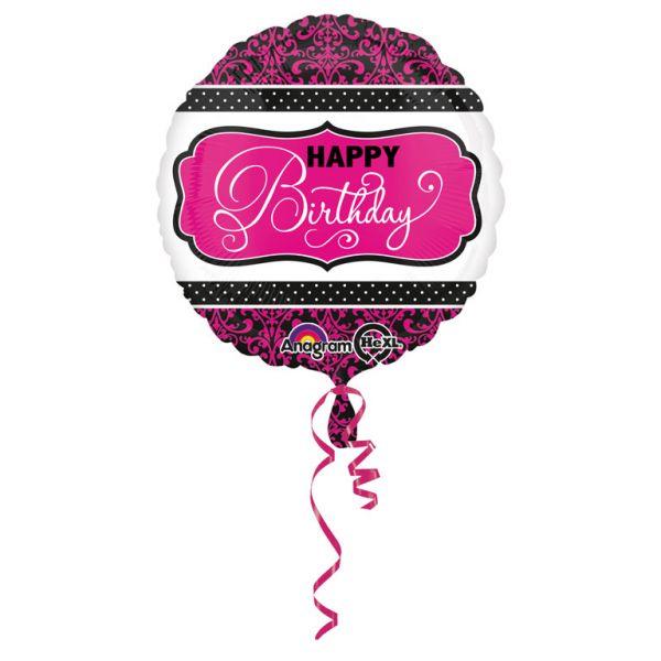 Happy B-Day Schwarz-Pink Folienballon 43 cm