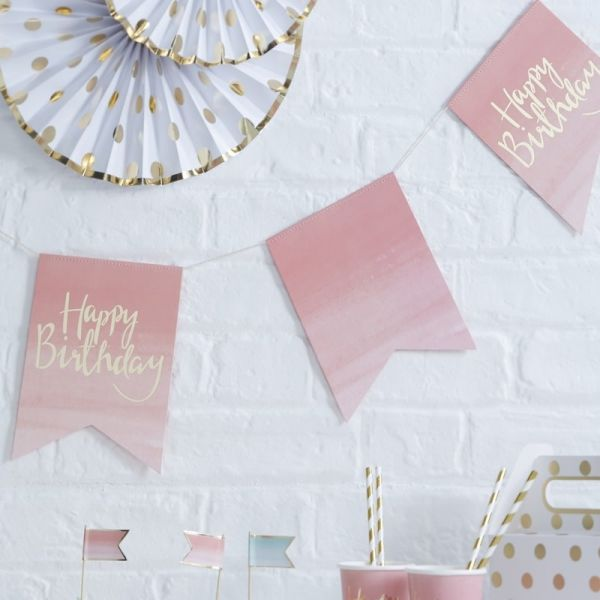 Gold/Pink Happy Birthday Bunting Pick And Mix