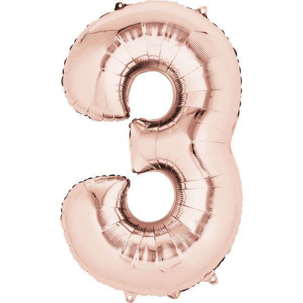 Zahl Rose Gold - 3 Folienballon 53 X 88 cm