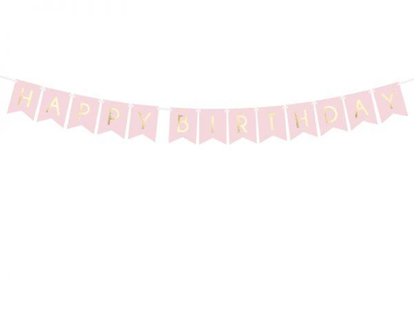 Happy Birthday Banner Light Pink 15 X 175 cm