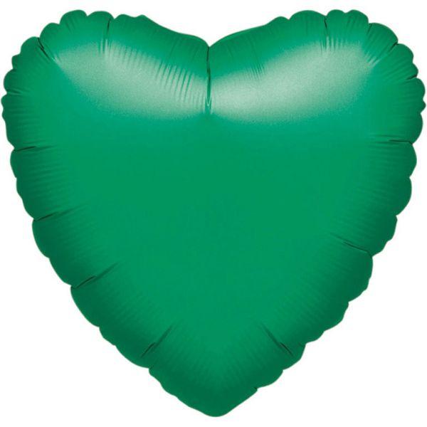 Herz Grün Metallic Folienballon 43 cm