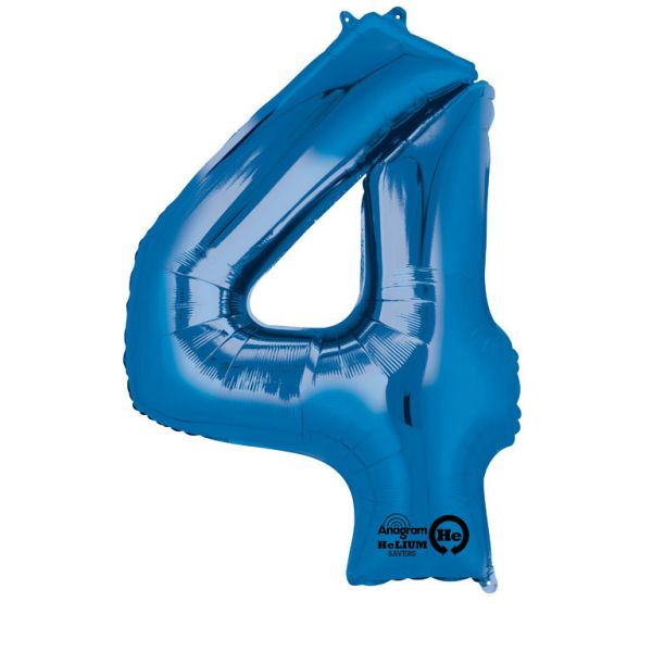 Zahl Blau - 4 Folienballon 66 X 88 cm