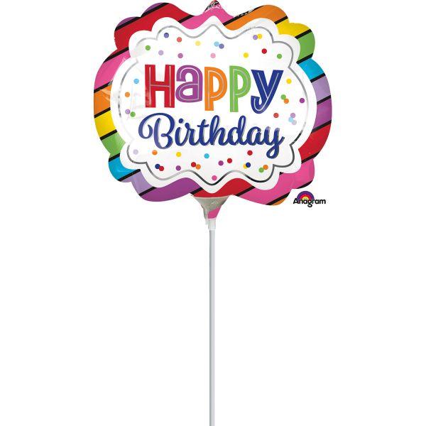Birthday Regenbogen Mini-Folienballon